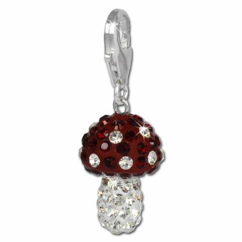 SilberDream Glitzer Charm Pilz rot Zirkonia Kristalle Anhänger 925 Silber für Bettelarmbänder Kette Ohrring GSC306R