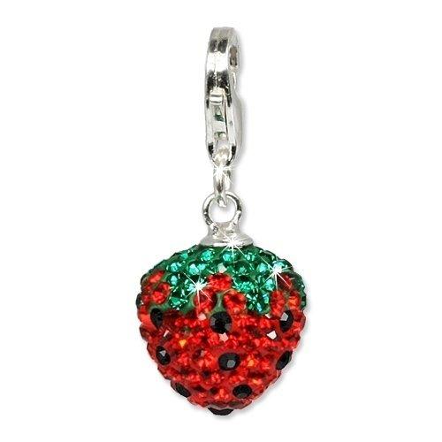 SilberDream Glitzer Charm Swarovski Kristalle Erdbeere Anhänger 925 Silber für Bettelarmbänder Kette Ohrring GSC301