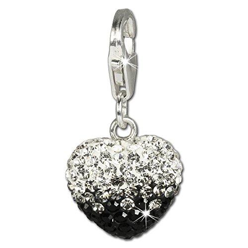 SilberDream Glitzer Charm Swarovski Kristalle Herz schwarz ICE Anhänger 925 Silber für Bettelarmbänder Kette Ohrring GSC006