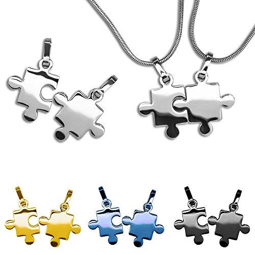 SoulCats® 2 süße Kettenanhänger m.o.ohne Ketten Partnerkette Anhänger Puzzle Freundschaft , Farbe:Silber ohne Kette
