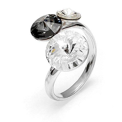 Spark Swarovski Elements Damen Ring 925 Sterling Silber 3 Swarovski Kristalle rund, Weiß/Grau