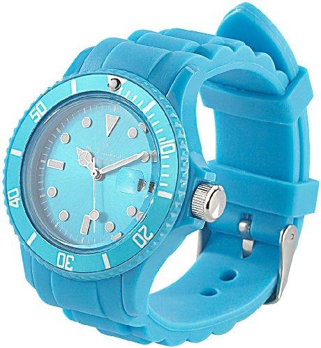St. Leonhard Sportliche Silikon-Quarz-Armbanduhr, Lupen-Mineralglas, himmelblau