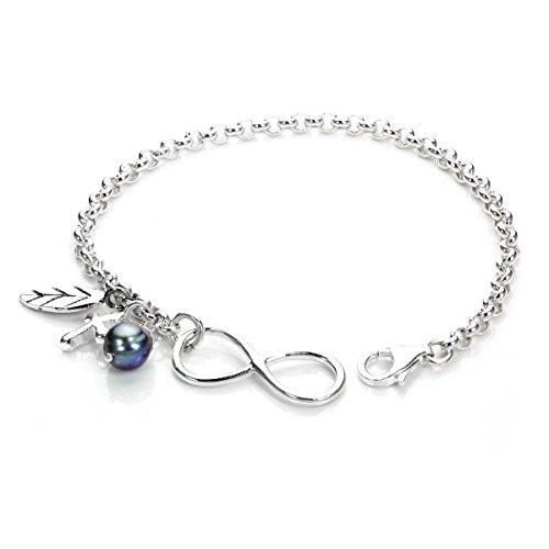 Sterling Silber Unendlichkeit Armkette mit Kreuz, Blatt und Perle Charms