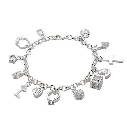 Styleziel Damen Armband 925 Silber pl Bettelarmband mit Zirkonia Kristalle 21cm 1513