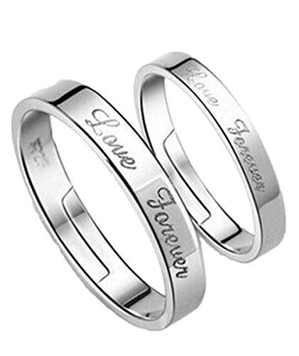 """Summens 1 Paar Ring Partnerringe Freundschaftsringe Eheringe""""Love Forever"""" Öffnung Ring"""