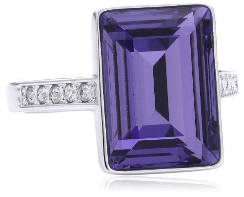 Swarovski Damen-Ring Metall Tamara Rhodium Tanzanite Kristallpavé klar Gr. 54 (17.2) / Herstellergröße: 55, 1169583