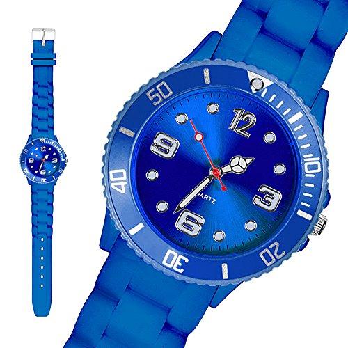 Taffstyle® Sportarmbanduhren - Sportuhr Bunte Damen Herren Silikon Armbanduhr Kinderuhr in verschiedenen Farben - 34mm / Blau