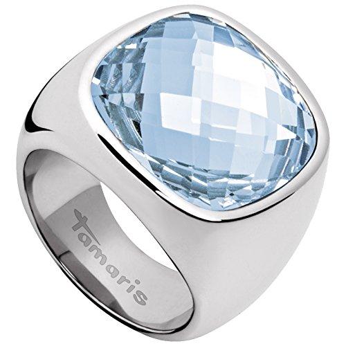 Tamaris Damen-Ring Simona Edelstahl Glas blau Gr. 58 (18.5) - A03710237