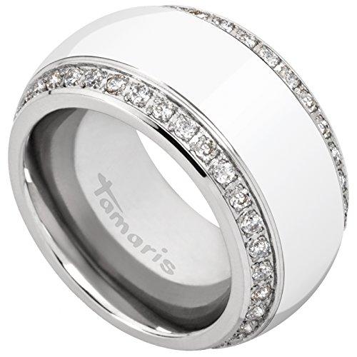 Tamaris Martha Edelstahl Ring Silber Keramik Weiss Zirkonia, Farbe:weiß;Ringgröße:56