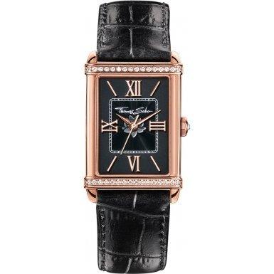 Thomas Sabo Damen-Armbanduhr Glam & Soul - CENTURY Black Rosé Analog Quarz Leder WA0234-213-203-32x25 mm