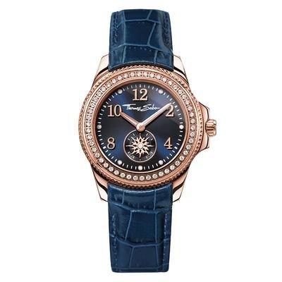 Thomas Sabo Damen-Armbanduhr Glam & Soul - CHIC Blue Rosé Analog Quarz Leder WA0216-270-209-33 mm