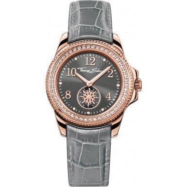 Thomas Sabo Damen-Armbanduhr Glam & Soul - CHIC Grey Rosé Analog Quarz Leder WA0239-274-210-33 mm