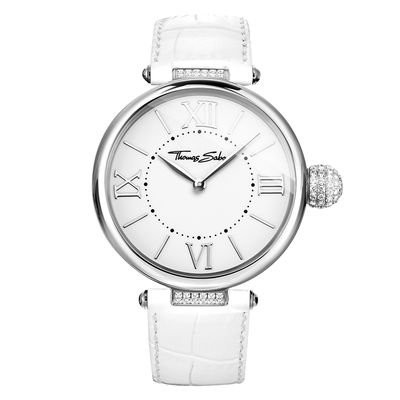 Thomas Sabo Damen-Armbanduhr Glam & Soul - KARMA Pavé White Analog Quarz Leder WA0258-215-202-38 mm