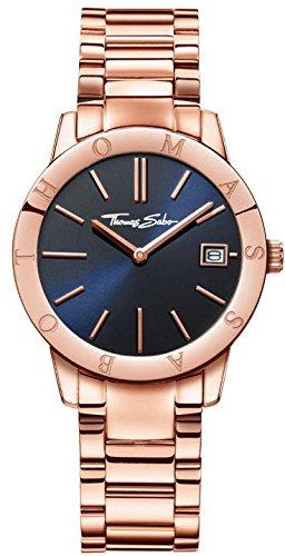 Thomas Sabo Damen-Armbanduhr Glam & Soul Rosé Blue Analog Quarz Edelstahl WA0215-265-209-33 mm