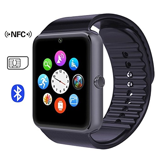 Time4Deals® GT08 Bluetooth Smart Watch Armband mit SIM-Karten-Slot und NFC Smart Health Watch for Android-Smartphone und IOS Apple Iphone - Schwarz
