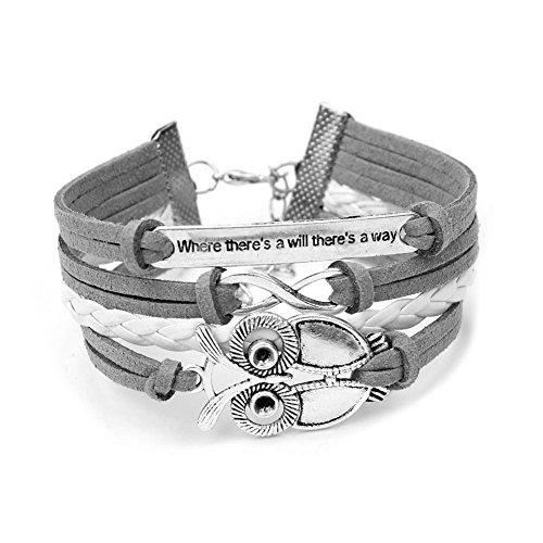 Trendy Frauen Unendlichkeit Ostern Owl Eule Freundschaft Antique Leder Nette Charm Armbänder & Armreifen Geschenk inklusive Geschenkbox von Boolavard TM