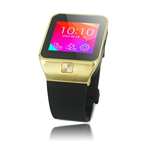 "VIDIMENSIO® Smartwatch ""New Day - gold- ohne Kamera"" / Handy Uhr / Fitness Uhr / Wrist Watch, 1.54"" Touch Screen, GSM SIM Karte, BT 3.0, inkl. Ladegerät und Kopfhörer, deutsches Menü, deutsche Bedienungsanleitung, deutscher Support / mehrsprachig / Multi Language, für iPhone (4 / 4s / 5 / 5c / 5s / 6 / 6s) + alle Android Smartphones (Samsung, HTC, Sony, Huawei, LG, Google, Acer, Dell, ZTE)"