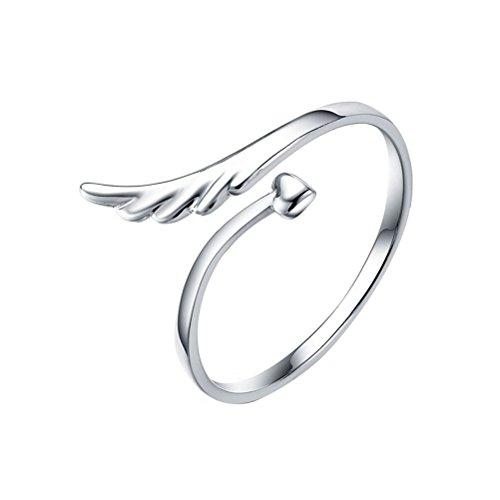 VORCOOL 925 Sterling Silber Ring mit Engels Flügel Herz - Verstellbar