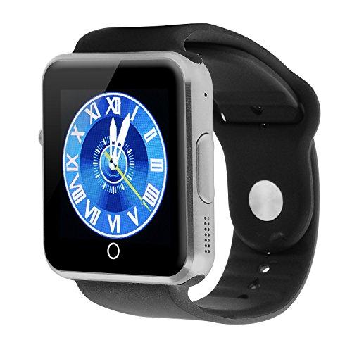 VOSMEP 2016 Neu Smartwatch Uhr Telefon Unterstützung Facebook Twitter mit Bluetooth 3.0 Smart Handgelenk Sport Armband mit Kamera 1.54 Zoll Touch Screen für Android Samsung Huawei LG Xiaomi HTC etc, Unterstützt SIM Smartphone (Schwarz) SM13