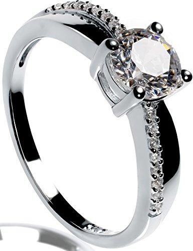 Verlobungsringe Silber Verlobungsring mit Swarovski Stein Zirkonia 1,4 Karat Ring Silber 925 Ringe für Damen Solitärring Antragsring Vorsteckring Silberring klassisch Zertifikat ORIGINAL Lars Benz