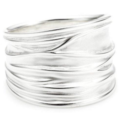 Vinani Damen-Ring breit Struktur sandgestrahlt glänzend Sterling Silber 925 Größe 62 (19.7 ) RBM62
