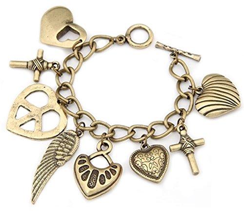 Vintage Herz-Armkette Multi Armkette Charmsarmband Charms mit verschiedenen Anhängern Herz Engelsflügel Feder Flügel Kreuz in Gold-Optik von DesiDo®