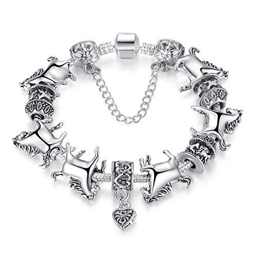 Wostu Europäischen Tibetischen Silber Unisex Bettelarmband mit Silberperlen und Pferd Charm Fashion