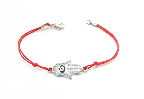 Wunderschönes Armband Armkette Armkettchen Cord Schnur - Fatimas Hand Buddha Hamsa - Silber Farbe rot Strass - blaues Auge Nazar Boncuk Evil Eye