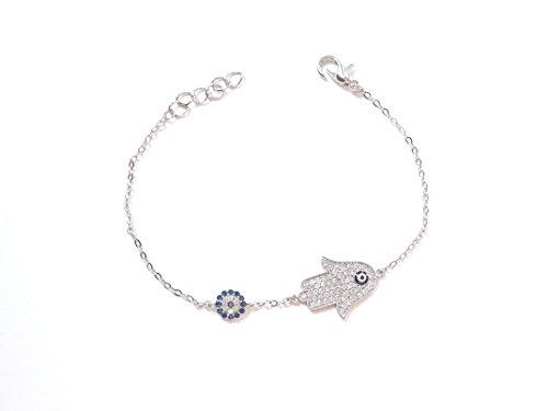 Wunderschönes Armband Armkette Armkettchen - Fatimas Hand Fatma eli Buddha - Silber Farbe Strass - blaues Auge Nazar Boncuk Evil Eye