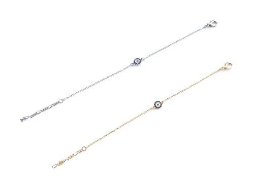 Wunderschönes Armband Armkette Armkettchen - Gold Silber Farbe Zirkonia Strass - blaues Auge Nazar Boncuk Evil Eye (Silber)