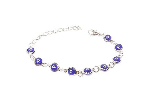 Wunderschönes Armband Armkette Armkettchen - Silber Farbe Glass - blaues Auge Nazar Boncuk Evil Eye Dunkel blau