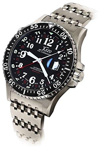 Xezo Air Commando GMT-Automatikuhr für Taucher und Piloten, Swiss-Made, limitierte Edition,mit ETA 2893-2 Uhrwerk, 30 ATM, WR, drei Zeitzonen.