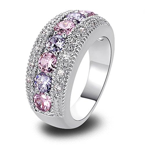 YAZILIND Band Pink White Topaz Kristall weißes Gold überzogen Ring für Frauen Geschenk Size8