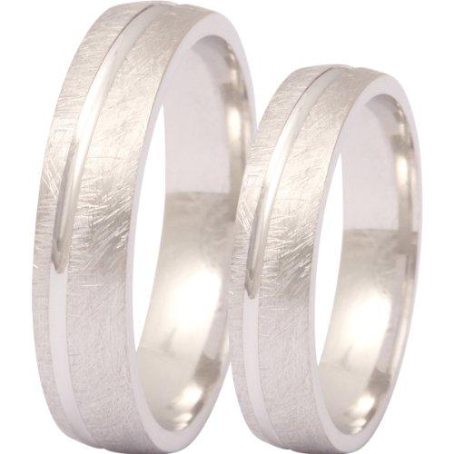 Zwei elegante Silberringe (925 Sterling), Verlobungsringe, Eheringe mit Gratis Lasergravur