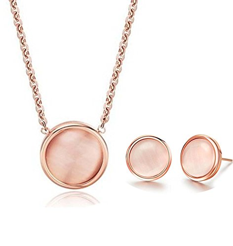 findout 14K Rose Gold überzogenen Titanstahl Opal Bean-Anhänger-Halskette + Ohrringe Set .Für Frauen Mädchen