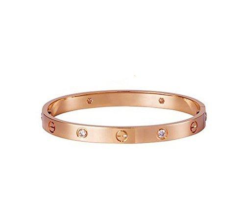 findout Damen 14K Roségold vergoldet Titan Stahl Ewigkeit Ring Armband, Frauen Mädchen, (f1393) (rosé vergoldet 1)