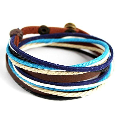iEFiEL Leder Damen Herren Wickelarmband Armband geflochten Lederband Armkette Schmuck (Kaffee+Blau)