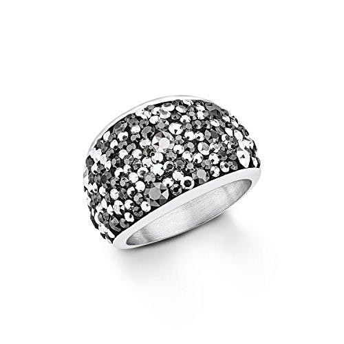 s. Oliver Damen-Ring Swarovski Elements Edelstahl Kristall grau Rundschliff Gr. 52 (16.6) - 544610