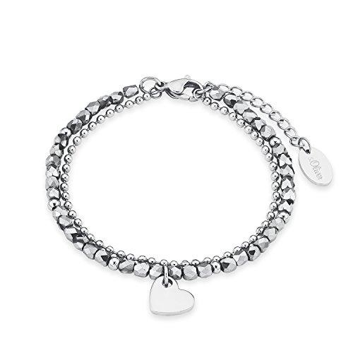 s.Oliver Damen-Armband Heart Edelstahl Glas silber 20 cm - 573146