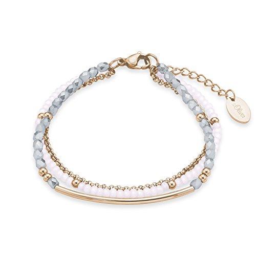 s.Oliver Damen-Armband Pink meets Grey Edelstahl Glas mehrfarbig 20 cm - 573108