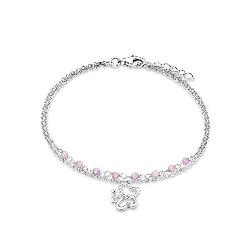 s.Oliver Kinder-Armband Schmetterling 925 Silber rhodiniert Glas rosa  18 cm - 525510