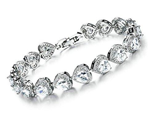 Österreichischer Kristall Herz Damen Armreif Armband rhodiniert-Präsentiert in einer wunderschönen Geschenkbox