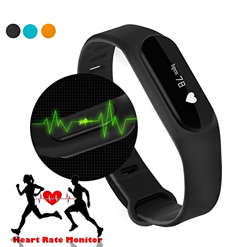 AIGUMI Smart-Band Heart Rate Monitor/Smartband/Smart-Armband/Smart Armband Fitness Wearable Activity Tracker/wasserdichte Bluetooth Health Fitness Band (einschließlich Herzfrequenzmesser fü r iPhone & Android) (Schwarz)
