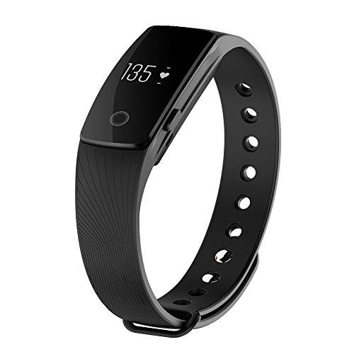 CICMOD Fitnessarmband Schrittzähler Touchbutton mit Herzfrequenzmesser / Smartphone Benachrichtigungen / Schlaftracker (Schwarz)
