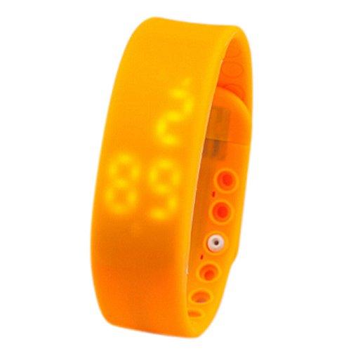 Dcolor 3D LED Wasserdicht Schrittzaehler Gesundheit Armbanduhr Pedometer Temperatur Sportuhr Fitness Schlaf Aktivitaetsprotokoll Kalorienzaehler-Orange