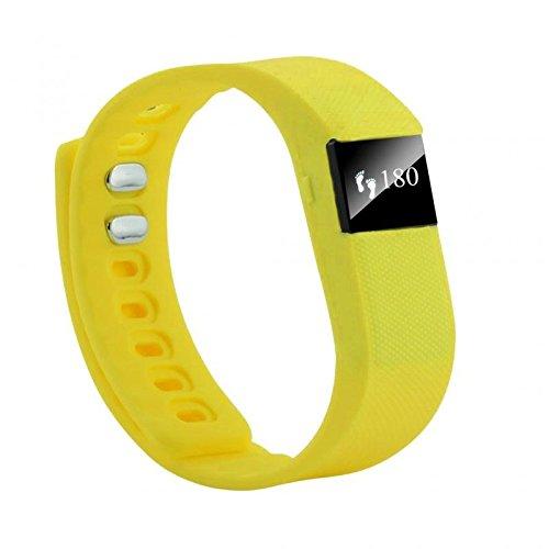 FENTI Smartband Fitnessarmband Aktivitaetstracker Wasserdicht Bluetooth Silikon Armband Schrittzaehler Tageszielen Inaktivitaetsbalken Schlafanalyse Gelb