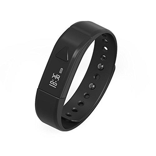 Juboury Fitness Armband, Fitness Tracker mit Schrittzähler, Schlafüberwachung, Anrufer- und Nachrichtenanzeige für iOS- und Android Smartphones. (Schwarz)