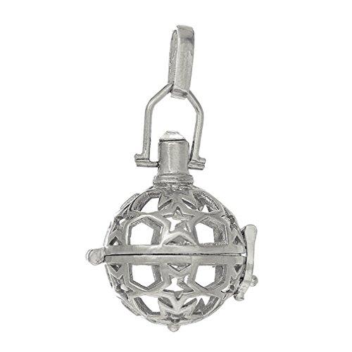 Souarts Silberfarbe Sterne Damen Ornament Anhänger Klangkugel in Schmuckbeutel für Halskette 1St.