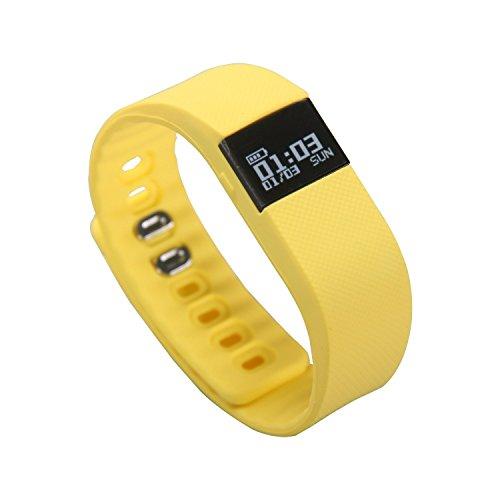 Timorn TW64 Mode Fitness Activity Tracker Pedometer Armband Bluetooth Armband für Android und IOS Smartphone (Gelb)