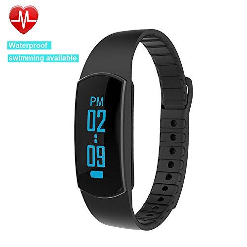Willful SW326 Fitness Armband mit Pulsmesser - Bluetooth Armbanduhr Aktivitätstracker Schrittzähler Uhr mit Puls Schlafanalyse Kalorienzähler Vibrationswecker Anruf SMS SNS Vibration für Android iOS (Schwarz)